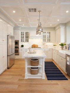 Kitchen island with baskets