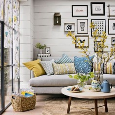living rooms - horizontal boards (or faux boards) on the wall from floor to ceiling, natural fibers, simple thematic art, brief, repeating color pallet