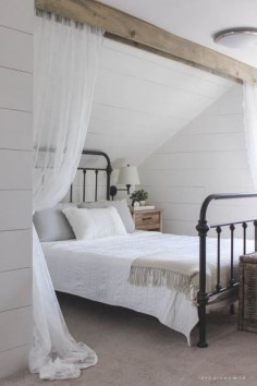 Loft idea for curtains upstairs (via Farmhouse Touches | Farmhouse Inspired Living – Farmhouses – Home & Garden)