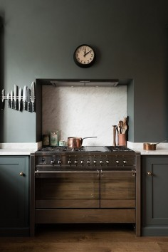 London kitchen with walls painted flint