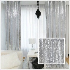 New Year 80% off Sequin Silver curtains, Select you size, 4FT*8FT Sparkly Silver Sequin Fabric Photography Backdrop, Best Wedding/Home/Party Fashion Decoration TRLYC