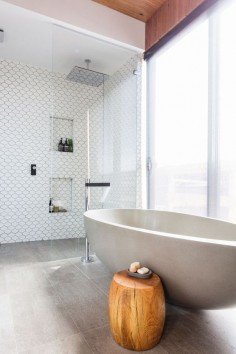 The Block: Bathroom reveals. Love the tile colours, these floor tiles would look awesome as a seamless look throughout the whole house.