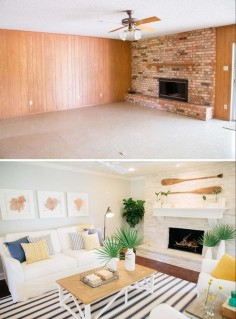 The interior of this house was covered up with dated paneling, green carpet and 70's style fixtures. The fireplace was the major focal point of the Ermoian's living room, making it one of the most important areas for us to bring back to life. We centered the fireplace and resurfaced the dated brick with updated stone, and gave the whole area a facelift with fresh drywall, paint and flooring. The biggest thing that makes a house feel coastal are the decorative accents. I had fun searching