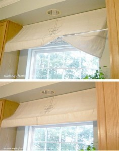 To get that French country feel in your kitchen, tension rods can help you create a lovely awning for your window on a dime.