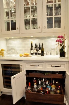 Traditional Bar with Hardwood floors, Built-in bookshelf