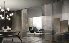 Velaria sliding door from Pure Interiors by Rimadesio   Available in aluminium, timber or matt lacquered frame and lacquered, matt and textured glass panels.