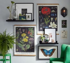 Vintage-inspired botanical prints bring a sense of history and a pop of color to this gallery wall.