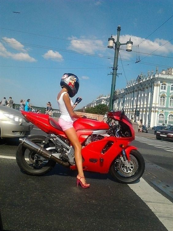 When her heels match the bike, you know she's the one ;)