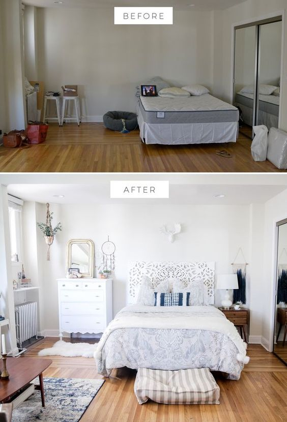 Bedroom before and after bedroom makeover boho bedroom for Bedroom ideas urban