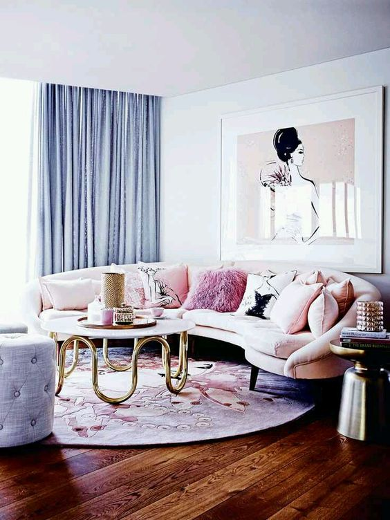 Dreamy living room in panties colors of 2016 blush-pink-pale-blue-glam-girly-penthouse-interior-design home of megan hess