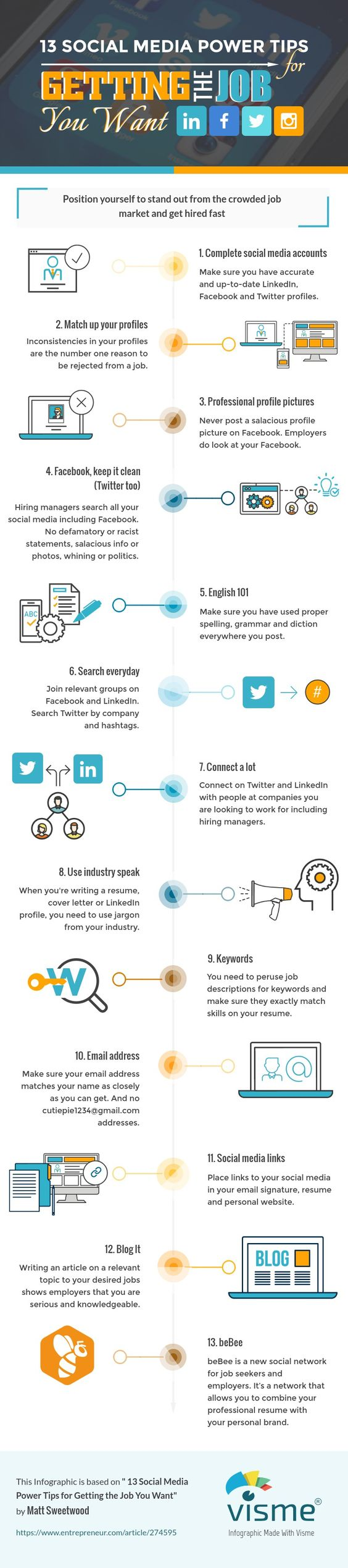 [Infographic] 13 Social Media Power Tips for Getting the Job You Want