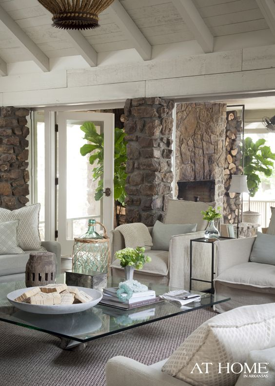 interior design ideas and inspiration for the transitional home by christina fluegge. Fiddle leaf figs + stone + casual furnishings