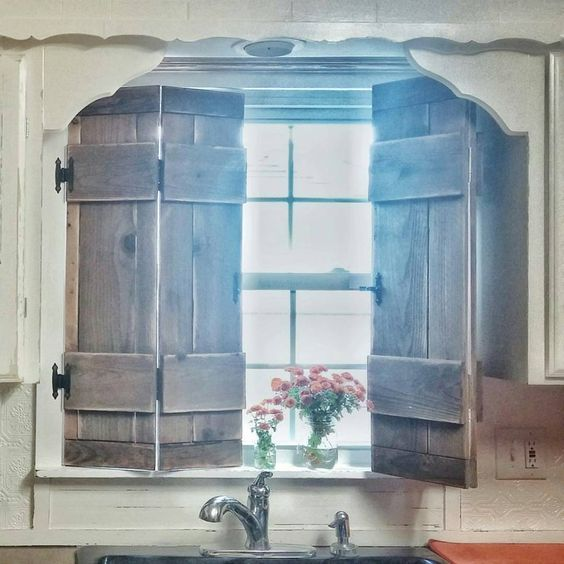 Kitchen Shutters Farmhouse Style Vintage Inspired