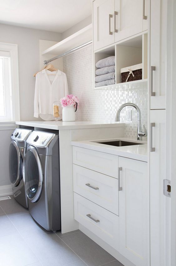 Laundry Room-I love the white backsplash in this room. Lots of light and clean lines.