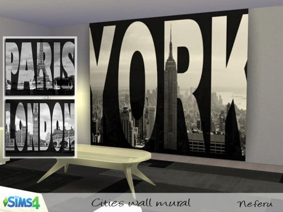 The Sims Resource: Cities wall mural by Neferu • Sims 4 Downloads