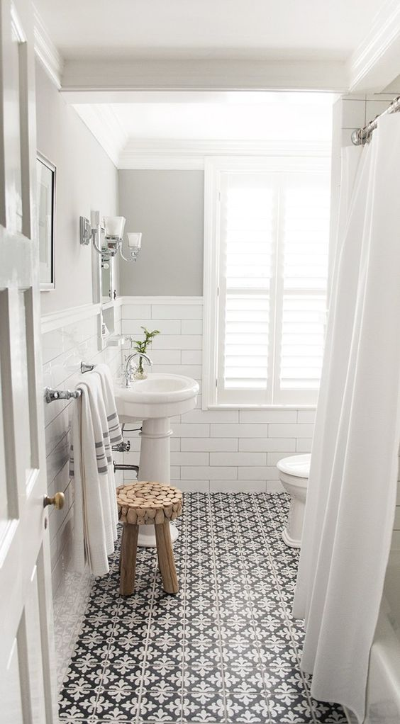 Tile - black and white for shower floor Bathroom with white subway tile and patterned encaustic floor tiles, designed by Vintage Scout Interiors, via @Sarah Sarna - Fashion, Interior Design, + Beauty