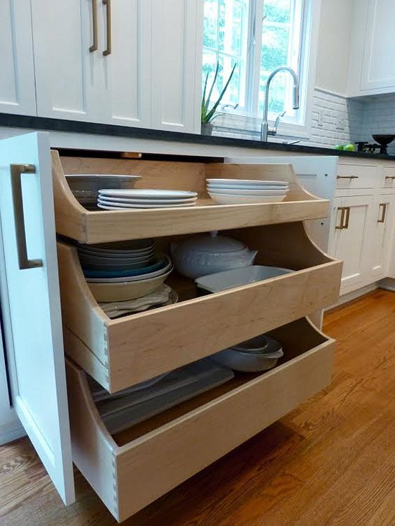 Kitchen pull out drawers underneath you can open up the for Kitchen cabinets vs drawers