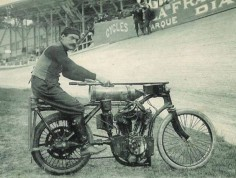A very old board track motorcycle