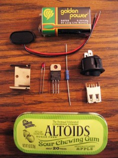 Altoids charger For less than twenty bucks, you can make a portable battery pack for your laptop. (Mine has to be charged every two hours because I run it unmercifully.) Great article for other Altoid tin uses from Mother Earth.