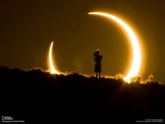 An onlooker of the annular solar eclipse witnesses the celestial event on May 20, 2012 by Colleen Pinski.