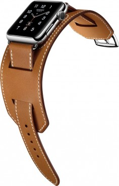 Apple Watch Hermes Cuff Inspired by equestrian fittings, the finely worked cuff in Hermès' signature leather is adapted to allow the heart rate sensor to stay in contact with the wrist. Available in 42mm stainless steel case with an Hermès leather band in fauve