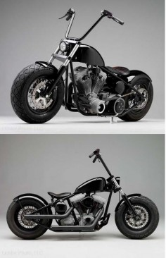 Hell Ride Chopper by Russell Mitchell of Exile Cycles in California Bobber #motorcycles #bobber #motos |