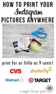 How to Print Instagram Pictures CHEAPLY at any store! A quick tutorial on how to print Instagram pictures for as little as 9 cents each!  Super simple! #instagram #instagramprints