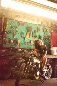 Motorcycle Girl 057 Jackie by Garrett Meyers ~ Return of the Cafe Racers