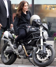 Piper Perabo turns biker girl as she hops on a Ducati on the set of Covert Affairs.