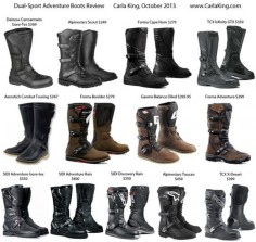 Review of dual-sport adventure motorcycle boots SIDI Alpinestars TCX Forma Gaerne Dainese, whew!