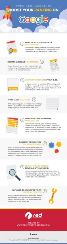 SEO Tips: 8 Ways To Earn Backlinks That Boost Your Ranking On Google #Infographic