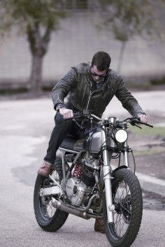 Stylish Honda street tracker. We love the leather jacket too.