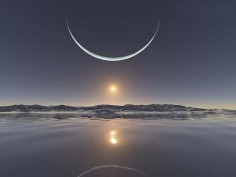 sunrise at the North Pole with the moon at its closest point