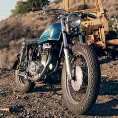 "Very nice treatment of this Honda CB360. love the slim, and stripped down look. ""It's rough around the edges, and will never be a trailer queen or photographed in the studio. But it's a bike that captures the simple fun of motorcycling."" Word."