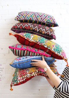 A bunch of Bohemian Moroccan Kilim Pillow, from Baba Souk