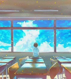 ✮ ANIME ART ✮ anime scenery. . .classroom. . .desks. . .window. . .sky. . .clouds. . .perspective. . .sparkling. . .cute. . .kawaii