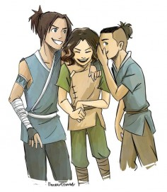 "Artist says, ""So I have this dream that Sokka has two sons and Lin is like bff's with them and they go and trick the other kids just like their parents did because everyone else is too much of a wimp to hang with Lin but these two are chill because it's freaking Sokka's CHILDREN."""