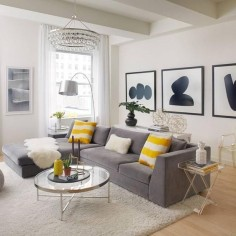 Black, white and yellow home decor - living room inspiration