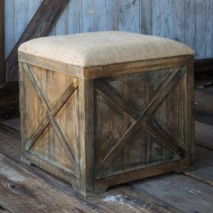 Burlap Cushioned Ottomon Box Stool