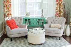 chairs- overstock, curtains, world market, tiny ottoman in tween for sitting area