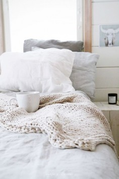 comfy bed and coffee