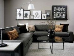 living room interior painting idea using gray as the base color