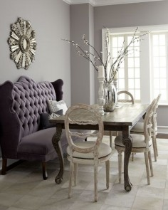 "Haute House - ""Isabella"" Wing Banquette, ""Liday"" Dining Table, & Swedish Side Chair    Swedish side chair is hand-carved birch wood with polyester/cotton upholstery. Sold individually; each, 19""W x ""D x 38""T. Imported."