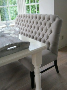 I like the idea of dining benches with  need a kid friendly fabric