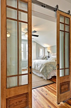 Interior Design Details | Sliding Barn-Style Doors with Glass Inserts