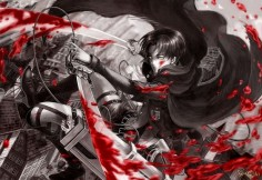 Levi Rivaille Blade Blood Stain 3D Maneuver Gear Cape Attack on Titan Shingeki no Kyojin Anime HD Wallpaper Desktop PC Background 2123