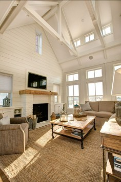 Living Room. I am loving this neutral living room with subtle coastal decor. Add pops of subtle or bright color and BAM!