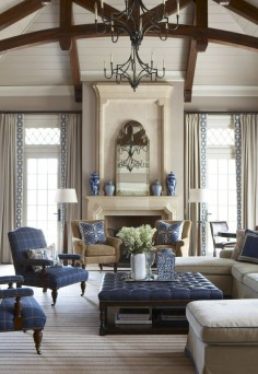 living room with navy