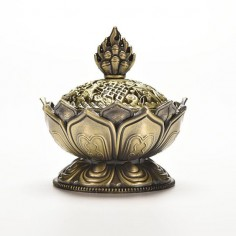 Lotus Flower Incense Burner Metal Bronze Bohemian Home Decor