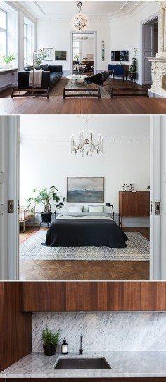 Modern looks even better against a traditional  I would LOVE to find a pre-1920s apt with crown mouldings and high ceilings like this!
